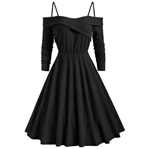 IZHH Damen Kleider Mode Schulterfrei Criss Cross LäSsige Solid Black Abendgesellschaft A-Line Prom Rock Festival Sling Swing Dress(Schwarz,X-Large)