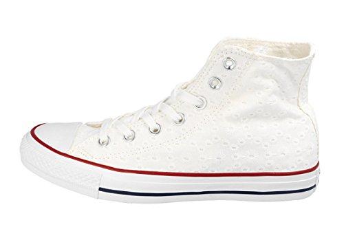 Converse Chucks 555978C Chuck Taylor All Star Eylet Strpie HI White Garnet Clematis Blue Weiss White