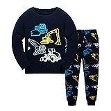 DAWILS Jungen Schlafanzug Bagger Langarm Zweiteiliger Excavator Schlafanzug Kinder Traktor Herbst Winter Bekleidung Nachtwäsche LKW Pyjama Set 104
