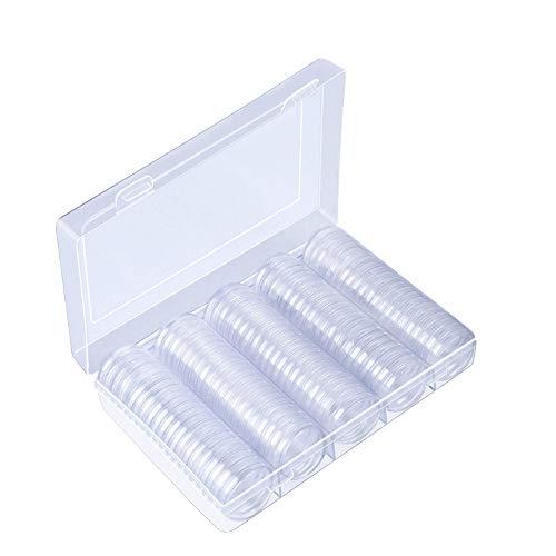 Münzhalter Case mit Lagerung Organizer Box, Kunstnägel 30mm GEDENKMÜNZE Collection Box, Medaille transparent Aufbewahrungsbox für Münz Kollektion Supplies - Crescent-kollektion