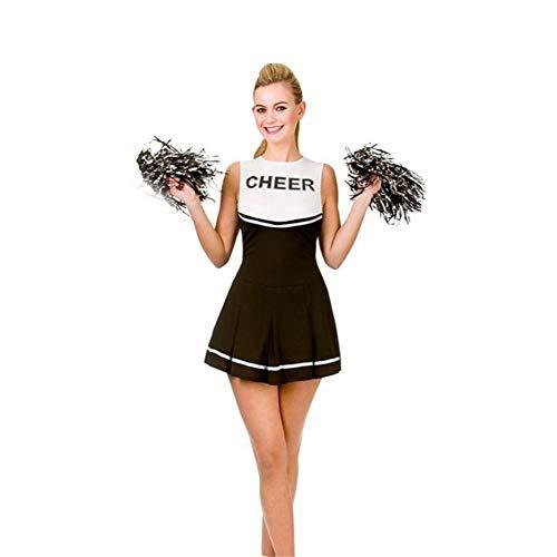 Musik Idole Kostüm - MCO%SISTSR Cheerleader-Kostüm,Musik-Kleidungssportwettbewerbs-Tanzleistung des Mädchens Cheerleaderuniform Runder Halskleiderfußballhochschulmusik,Schwarzes,XXL