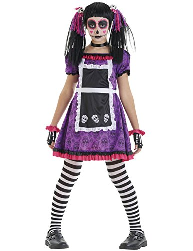 Kinder, die Day Of The Dead Puppe Halloween Untoten Fancy Dress Kostüm, Violett