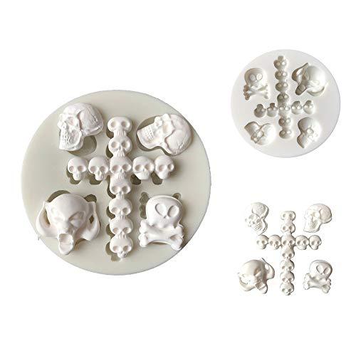 Bodhi2000Halloween Moule en Silicone Tête de Mort Chocolat Cookies Fondant Moule Savon Moule Candy Moules