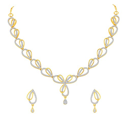 7652a13318b58 Asmitta Fancy Gold Plated American Diamond Necklace Set For Women ...