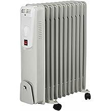 El Fuego® AY 702 – Radiador eléctrico portátil, con 11 elementos, 2500 W, termostato, protección antivuelco y contra sobrecalentamiento, con 4 ruedas, color blanco