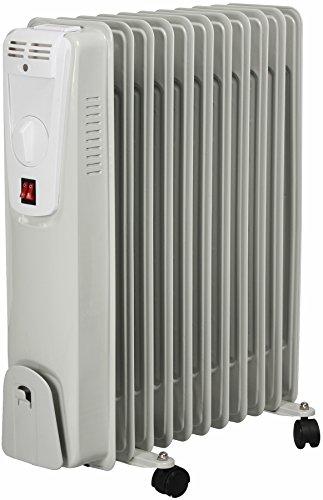 El Fuego® Mobiler Elektro-Ölradiator/ Elektroheizung/ Heizkörper elektrisch, mit 11 Rippen, 2500 W, Thermostatregler, Kippschutz + Überhitzungsschutz, mit 4 Rollen, Weiß, AY 702