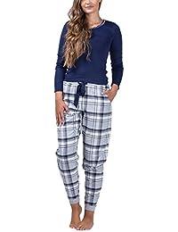 maluuna - Damen Schlafanzug mit Flanellhose und Bündchen aus 100% Baumwolle 1649dbe4dc
