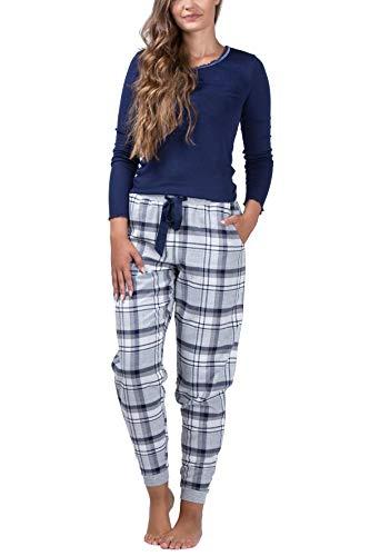 maluuna - Damen Schlafanzug mit Flanellhose und Bündchen aus 100% Baumwolle, Farbe:Navy, Größe:M