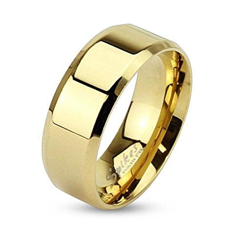 Bungsa 49 (15.6) Goldener Ring klassisch Edelstahl mit abgerundeten Kanten für Damen & Herren 49-70 (Fingerring Schmuckring Partnerringe Verlobungsringe Trauringe Damenring Chirurgenstahl Frauen)