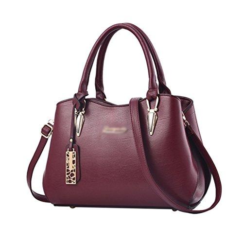 0e110b89f8df3 Baymate Damentasche Handtasche Frauen PU Leder Vintage Schultertasche  Umhängetasche Messenger Bag Weinrot