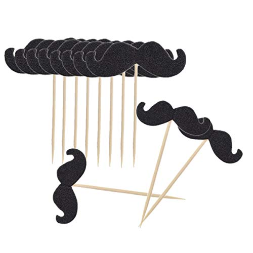 NUOBESTY 40 stücke Cupcake Topper Schnurrbart Form Kuchendeckel für Baby Shower Birthday Musical Party Kuchen Dekoration Lieferungen (Schwarz) (Mit Schnurrbart Baby)