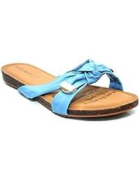 DAZAWA - Sandalias de vestir de Piel para mujer Azul azul 16.00