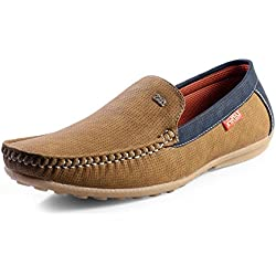 Red Rose Men's Blue Stylish Loafer Shoes (9, Tan)