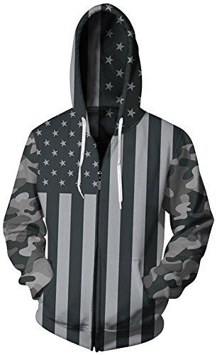 TDOLAH Herren mehrfarbig Hoodie Jacke Sweatjacke mit Kapuzen (2XL / 3XL, 013 die Vereinigten (Straßen Kostüme Halloween)