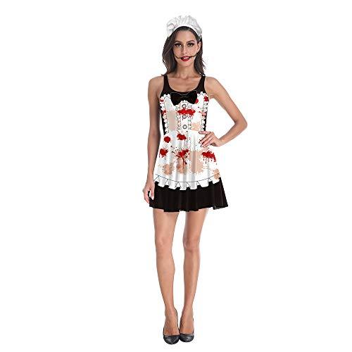MMDYF Halloween Kostüm Damen Karneval Kleid Weiblich, Zombie Maid Sexy Tau Schlank Basis - Zombie Piraten Kostüm Weiblich