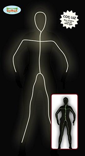 leuchtender Ganzkörperanzug Strichmännchen Kostüm für Damen Gr. M/L, Größe:L (Ganzkörperanzug Kostüm)