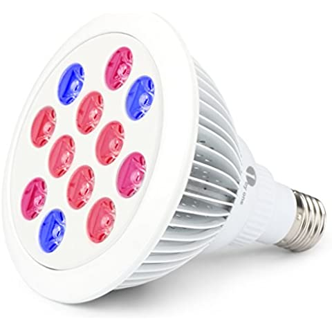 1byone Luz LED para plantas con longitudes de onda de luz roja y azul optomizadas para jardinería de interior e invernadero, plantas, flores, frutas, verduras, casquillo E27, 70-80% de ahorro de energía (E27,