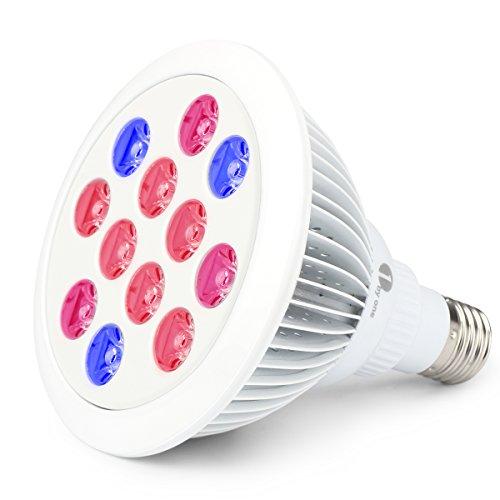 1byone Lampada LED E27 24w per Coltivare Piante, Grow Light Lampada per Coltivazione Idroponica per Giardinaggio in Serra, Piante, Fiori, Frutta, Vegetali, Risparmio di Energia del 70-80%