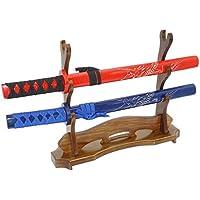 3 capas Soporte de espada de madera maciza Katana Display Espada de samurai Soporte de Wakizashi Soporte de piso horizontal