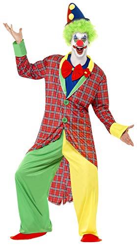 Smiffys La Circus Deluxe Clown Kostüm mit Jacke Hose Mock Hemd mit Fliege und Überschuhen, X-Large