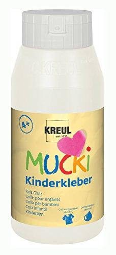 Kreul 24383 - Mucki Kinderkleber, wasserlöslich, lösemittelfrei, PVC-frei, geruchlos, universell einsetzbar, parabenfrei, glutenfrei, laktosefrei, vegan, auswaschbar, 750 ml Flasche, glasklar