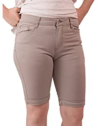 6658ac90a5782 Primtex Bermuda Femme en Jean Taille Haute Coton Stretch léger-