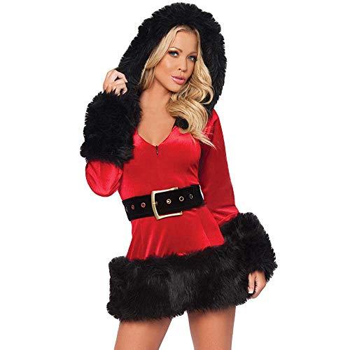 Rosennie Damen Weihnachtsmann Kostüm Weihnachten Cosplay Dessous Kleid Frauen Sexy Hooded Plush Lingerie Babydoll Weihnachten Negligee Reizwäsche Erotik Spitze Nachtwäsche (Schwarz,XXL)