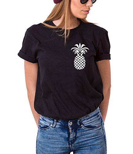 Mejores Amigas Shirts Impresión Piña Algodón Camiseta Best Friends Pineapple Regalo de Cumpleaños 1 Pieza Moda Elagante Verano Para Mujer(Negro,XL)