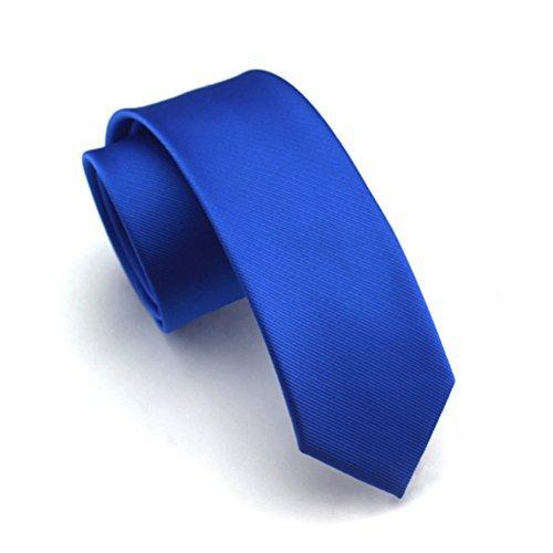 Elviros Corbata estrecha 6cm para hombres fina original para negocios, fiestas o bodas, azul de prusia