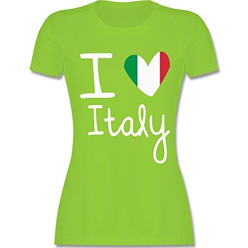 EM 2016 - Frankreich - I love Italy - tailliertes Premium T-Shirt mit Rundhalsausschnitt für Damen Hellgrün