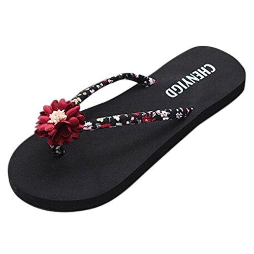 Chanclas Mujer Verano,Mujeres delgadas de la playa de las señoras ojotas chanclas sandalias zapatos zapatillas de baño sandalias LMMVP (38(EU), Rojo)