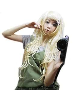 L-email wig™75cm beige Kirisame Marisa Touhou Project perruque bouclée cosplay CW25+chapeau de perruque libre net