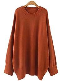 ZGJQ Women s Sweater Round Neck Shirt Warm Pullover Plus Fertilizer To  Increase Solid Color Super- 9d885c1d9