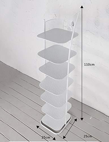 JB-XJ Kleine Schmale Schuhablage Metall Hausschuhe Rahmen Tür Balkon Ecke 6/7 Schicht Stapelbar (Farbe : Weiß, größe : 7 Tier)
