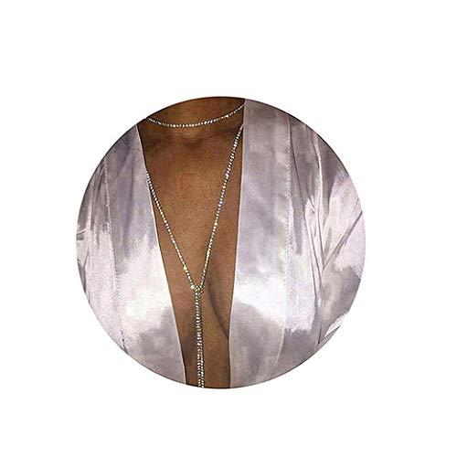 Dsaren Frauen Sexy Bikini Körper Kette Fashion Glänzend Halskette Körper Schmuck Sklave Halskette (C-Silber)