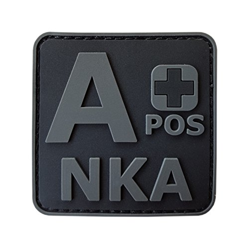 Image of ACU All Black APOS A+ NKA Blood Type No Known Allergies Morale PVC Rubber Fastener Patch