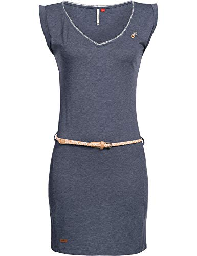 Ragwear Damen Kleid Dress Sommerkleid Strandkleid Jerseykleid Freizeitkleid Slavka Blau Gr. S Print-mini-kleid Top