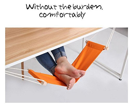 YJW Schreibtisch Fuß Hammock Mini Büro Fußstütze Schreibtisch Füße Hängemattenständer - Orange