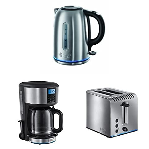 Russell Hobbs Buckingham Quiet Boil Kettle + Coffee Maker + 2 Slice Toaster - Stainless Steel