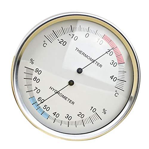 perfk Metall Thermo- Hygrometer Analog für Innen und Außen Raum, ca. 132mm