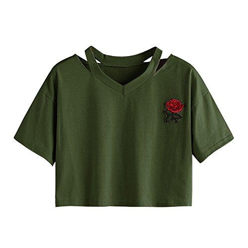 YWLINK Damen Rose Stickerei Oberteil Kurze ÄRmel Freizeit Kurzer Absatz Hohl T Shirt V Ausschnitt Sommer Weste üBersteigt Bluse(XL,Armeegrün)