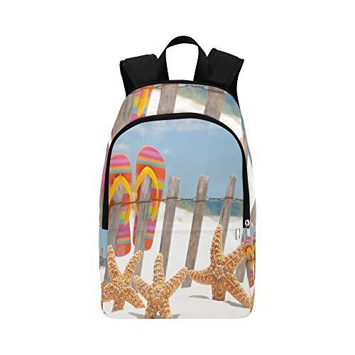 Flip-Flops, die am Zaun vorbei hängen Stockfoto Zufällige Daypack-Reisetasche College-Schulrucksack für Männer und Frauen -