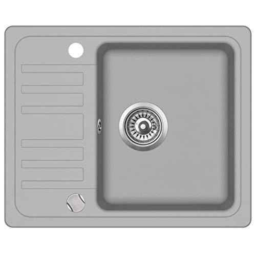 mewmewcat Granitspüle Einzelbecken Küchenspüle Spüle Einbauspüle Spülbecken Granit 1-Becken 575 x 460 x 280 mm Grau
