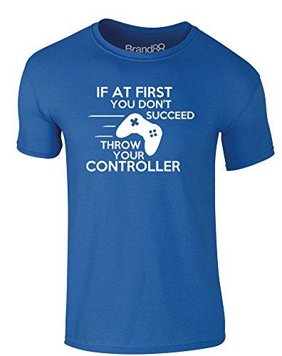 Brand88 - Throw Your Controller, Erwachsene Gedrucktes T-Shirt Königsblau/Weiß