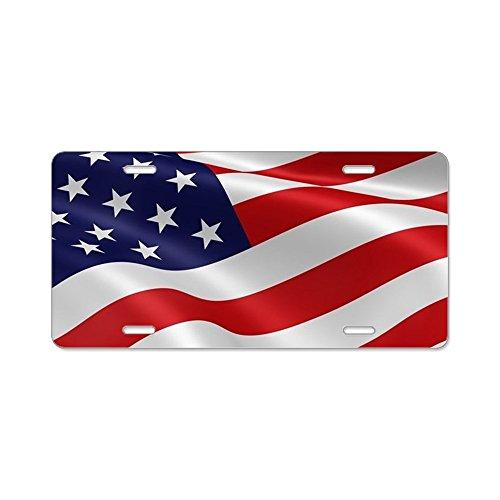 CafePress–USA Flagge–Aluminium Nummernschild, vorne Nummernschild, Vanity Tag (Usa Kennzeichen License Plate Frame)