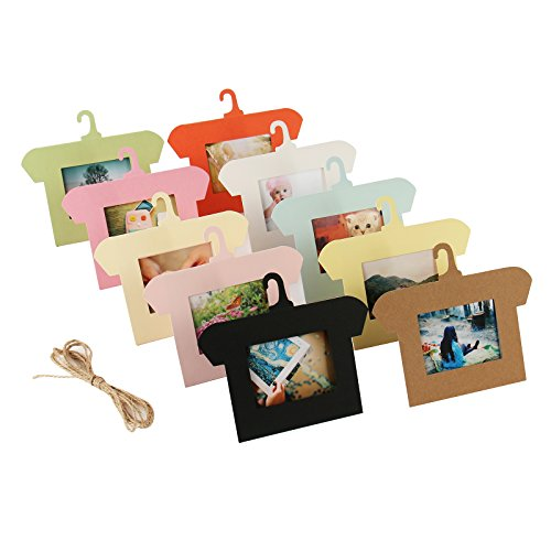 Preisvergleich Produktbild Katia 10Stück Papier Bilderrahmen für Wand Dekor mit 2m Hanf Seil, 7,6cm, bunt,