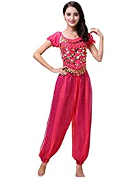 86f0a5ec19612 Xinvivion Womens Belly Dance Costume Set - Dancing Top + Lantern Pants  Professional Carnival Dancer Outfit