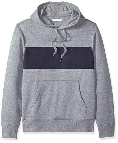 Imagen de amazon essentials  sudadera de forro polar con capucha para hombre, gris light gray heather/navy , us l eu l