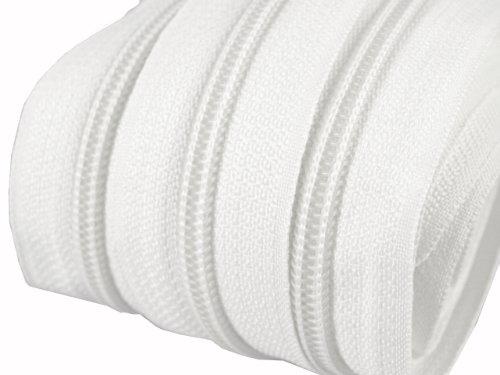 2 m endlos Reißverschluss 5 mm Laufschiene + 5 Zipper Meterware teilbar Farbwahl (weiß)