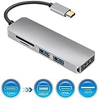 Concentrador USB C, concentrador tipo C con salida HDMI 4K, lector de tarjetas SD y TF, 2 puertos USB 3.0 portátiles para MacBook Pro 2015/16/17 Nuevas MacBook, Chromebook, Samsung S8, unidades flash USB y otros dispositivos tipo C
